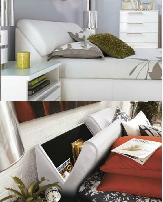 Скрытый шкафчик в изголовье кровати.