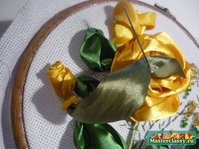 Желтые розы. Вышивка. Мастер класс
