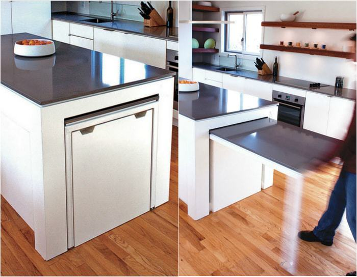 Kitchen island, equipped with a retractable table.