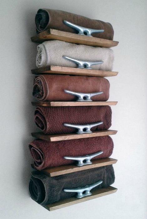 Wooden shelving for towels.