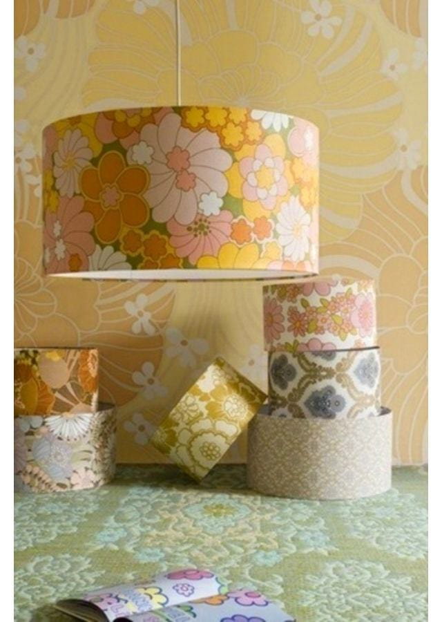 Lamps in colors: yellow, light gray, brown, beige. Lamps in the style of English styles.