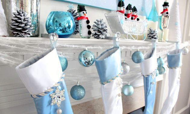 Decor in colors: blue, turquoise, gray, white. Decor in.
