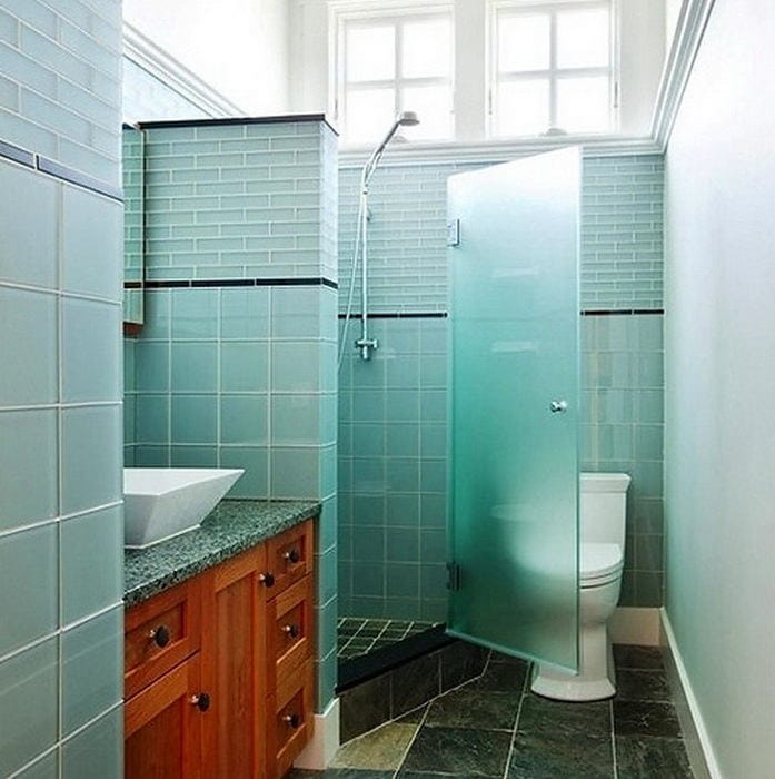 Toilet in colors: blue, turquoise, white, blue-green. Toilet c.