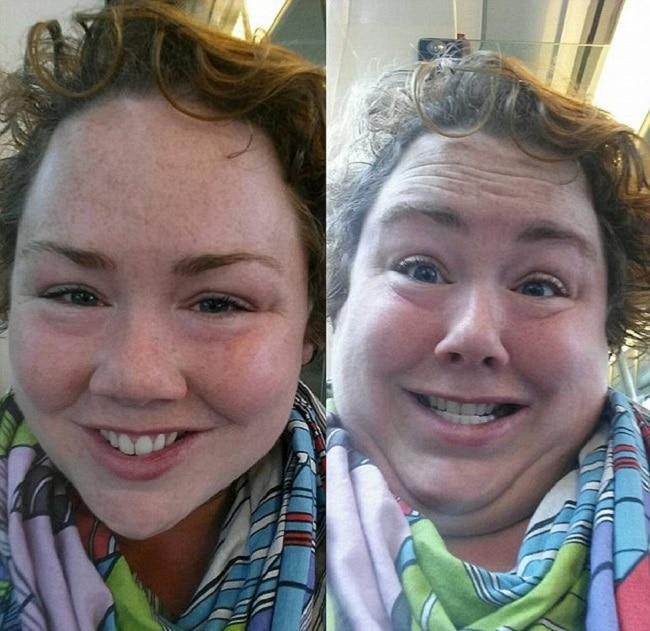 А вот девушка Кэрол сделала селфи в метро.