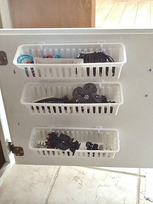 Plastic containers for storing small items.