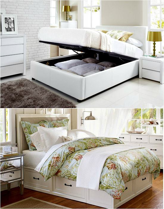 Bed, equipped with storage boxes.