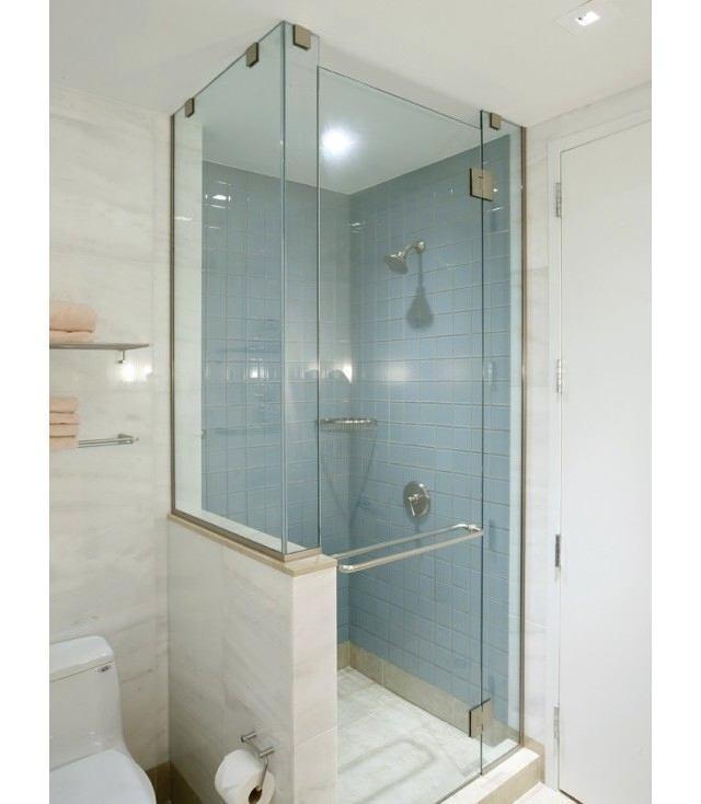 Bathroom in colors: turquoise, gray, light gray, blue-green. Bathroom c.
