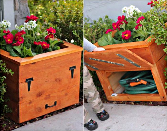 Flower bed, equipped with a hidden locker.
