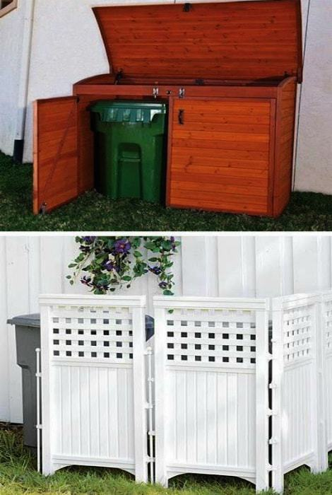 Container and screen for masking garbage containers.