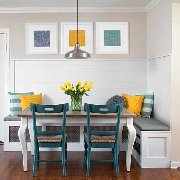 Кухня в цветах: желтый, серый, светло-серый, сине-зеленый. Кухня в стиле эклектика.