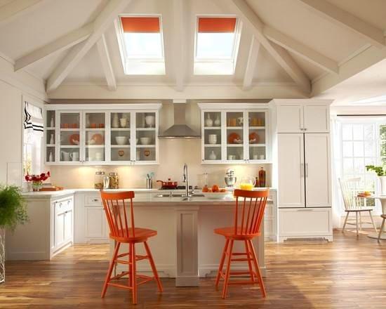 Кухня в цветах: оранжевый, желтый, серый, светло-серый, белый. Кухня в стилях: американский стиль.