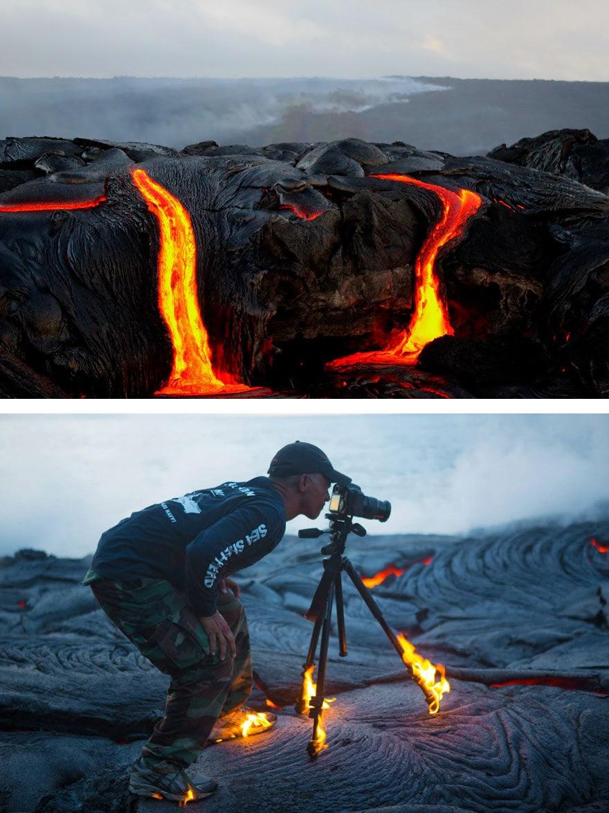 горящая лава фото