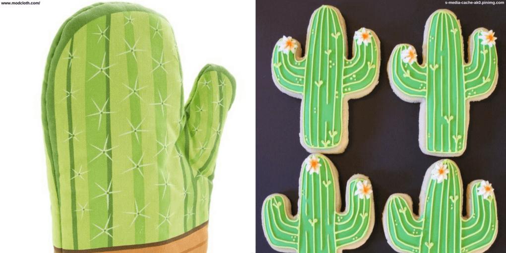 Imágenes de cactus en relación con la cocina: manopla y galletas.
