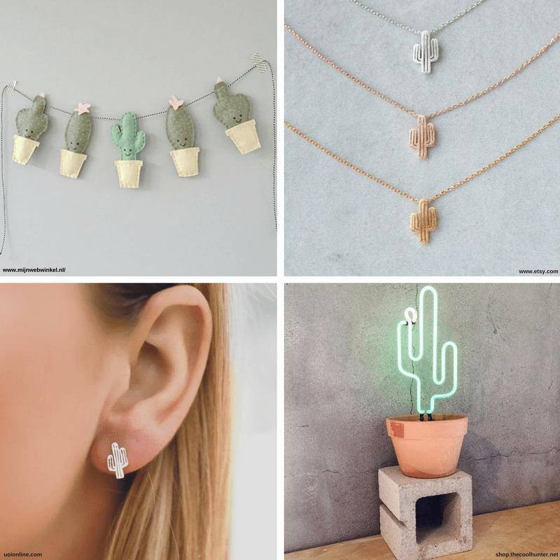 Diferentes imágenes de cactus: decoración, joyas, lámpara.
