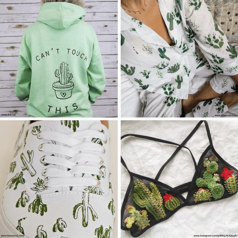 Diferentes imágenes de cactus en relación con la moda: sudadera deportiva, pijama, zapatillas, traje de baño.