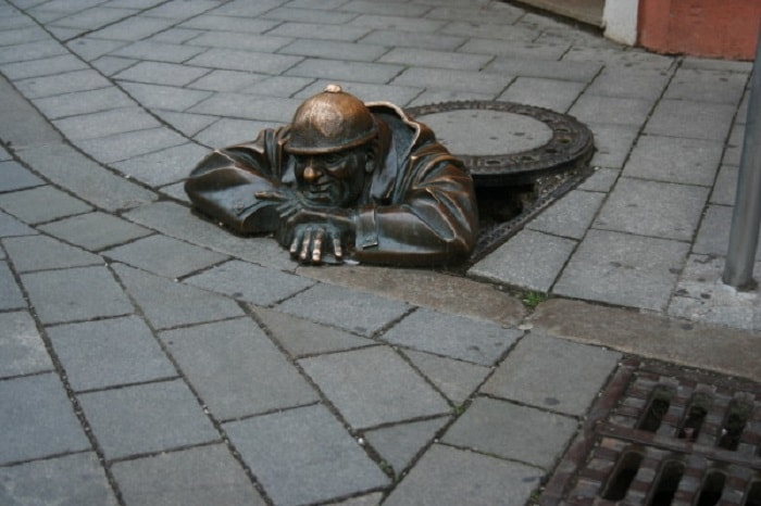The most famous statue in Bratislava, made of bronze.