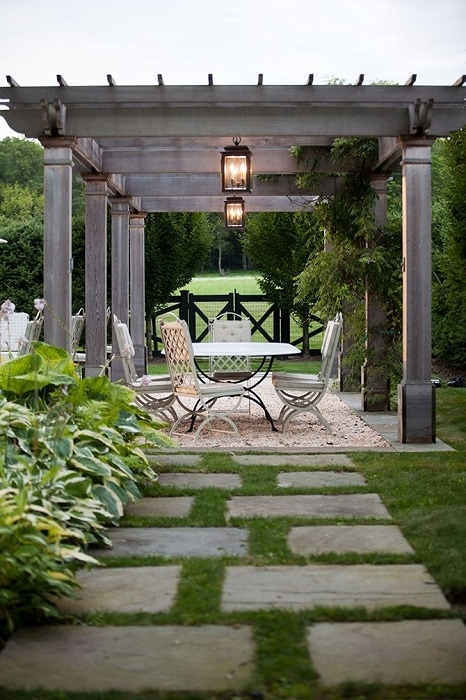 An excellent solution to build a gazebo over the dining surface, which will provide pleasant gatherings in nature.
