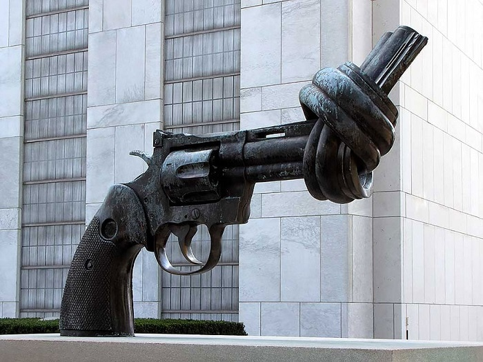 An unusual monument in the form of a revolver, installed near the headquarters of the UN in New York.