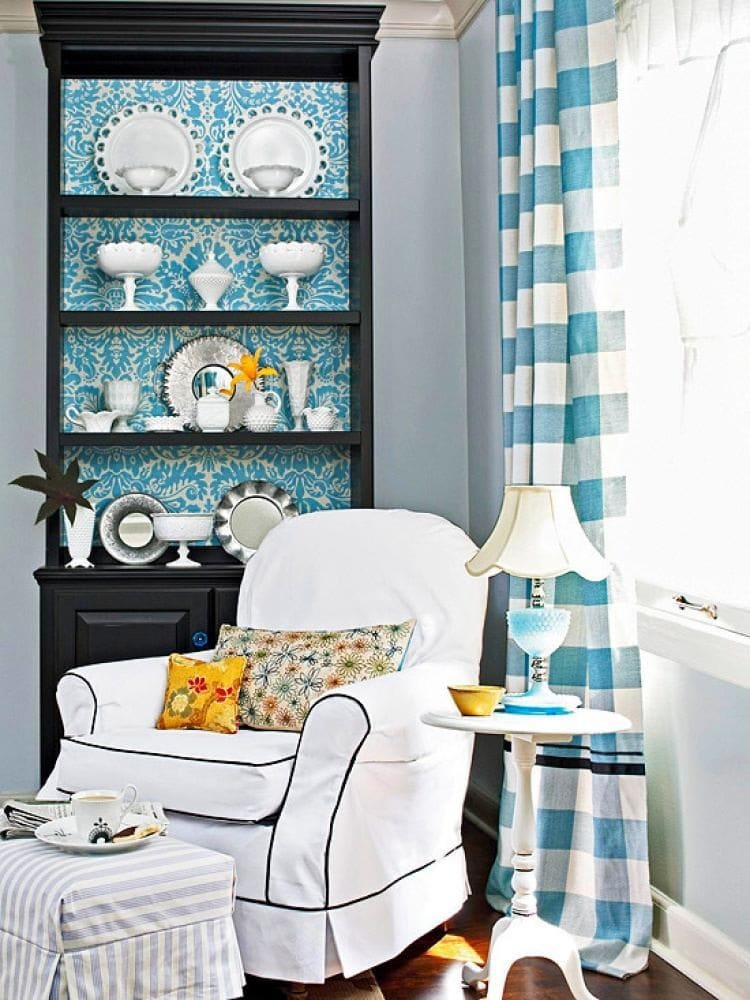 Living room, hall in colors: turquoise, black, gray, white, blue-green. Living room, lounge style English styles.