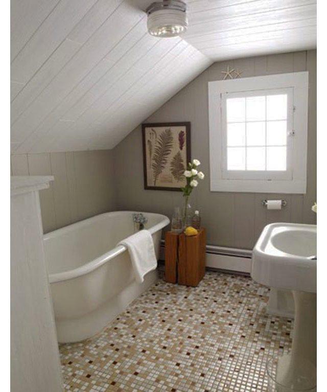 Bathroom in colors: gray, light gray, dark brown, brown. Bathroom c.