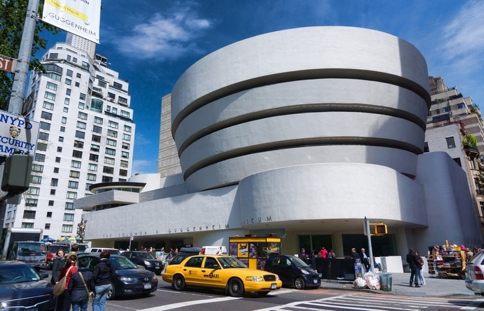 The unique architecture of the Guggenheim building.
