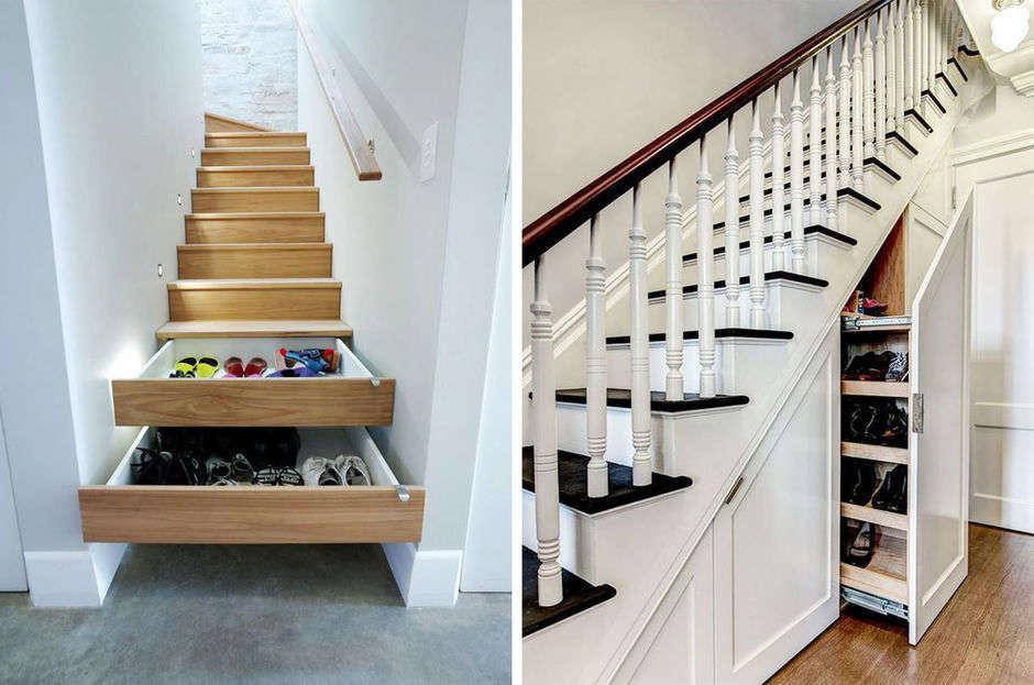 лестница с отделениями для обуви