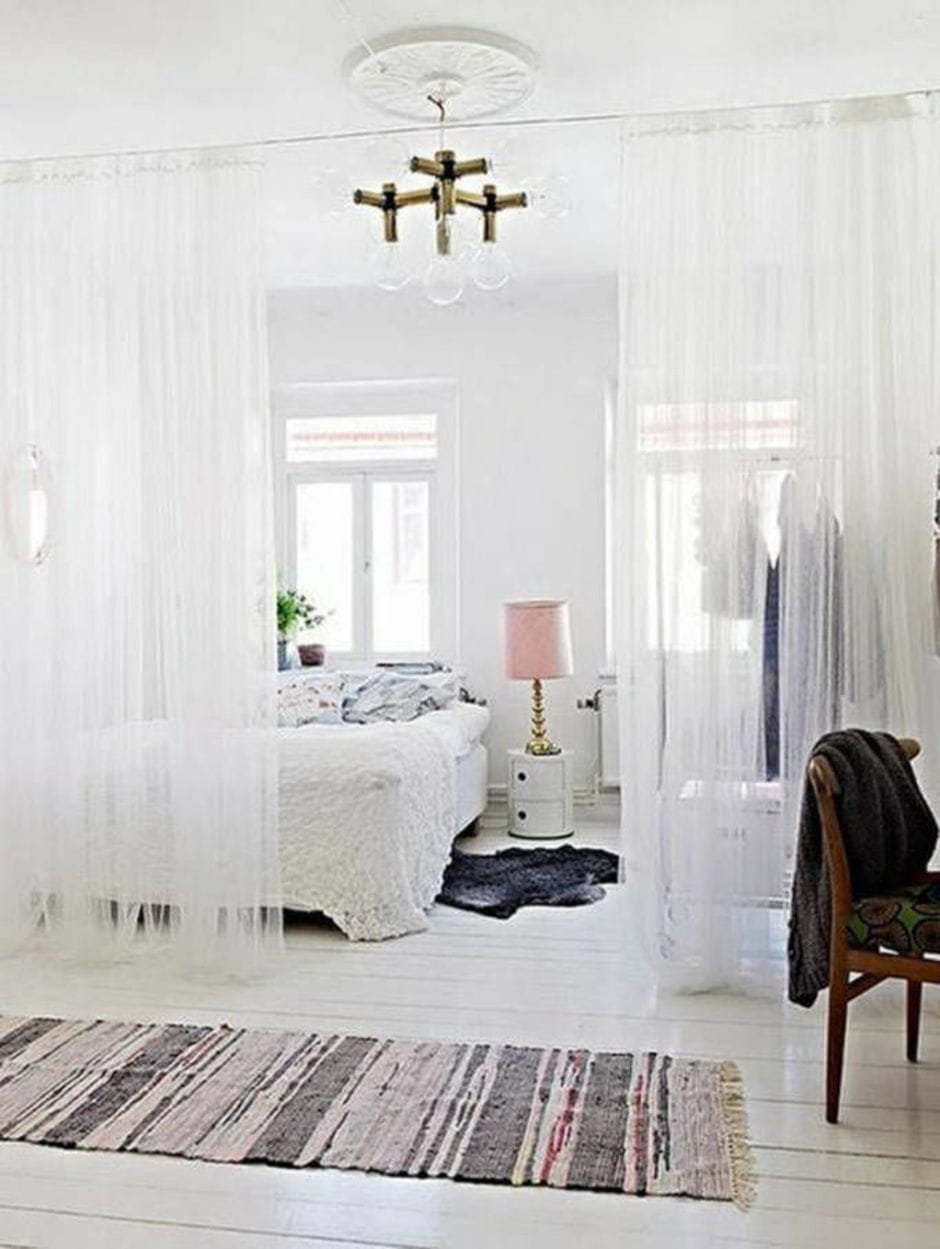 curtains covering the bedroom