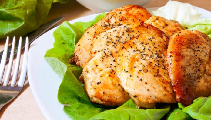 Baked chicken breast with salad
