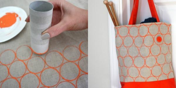 рисунок при помощи втулки от туалетной бумаги