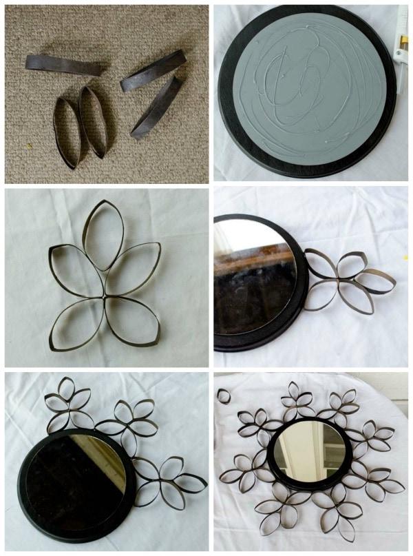 декор зеркала втулками от туалетной бумаги