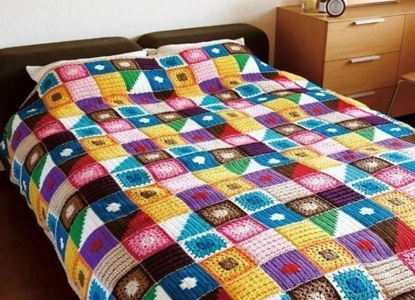 Вязание покрывала в стиле пэчворк