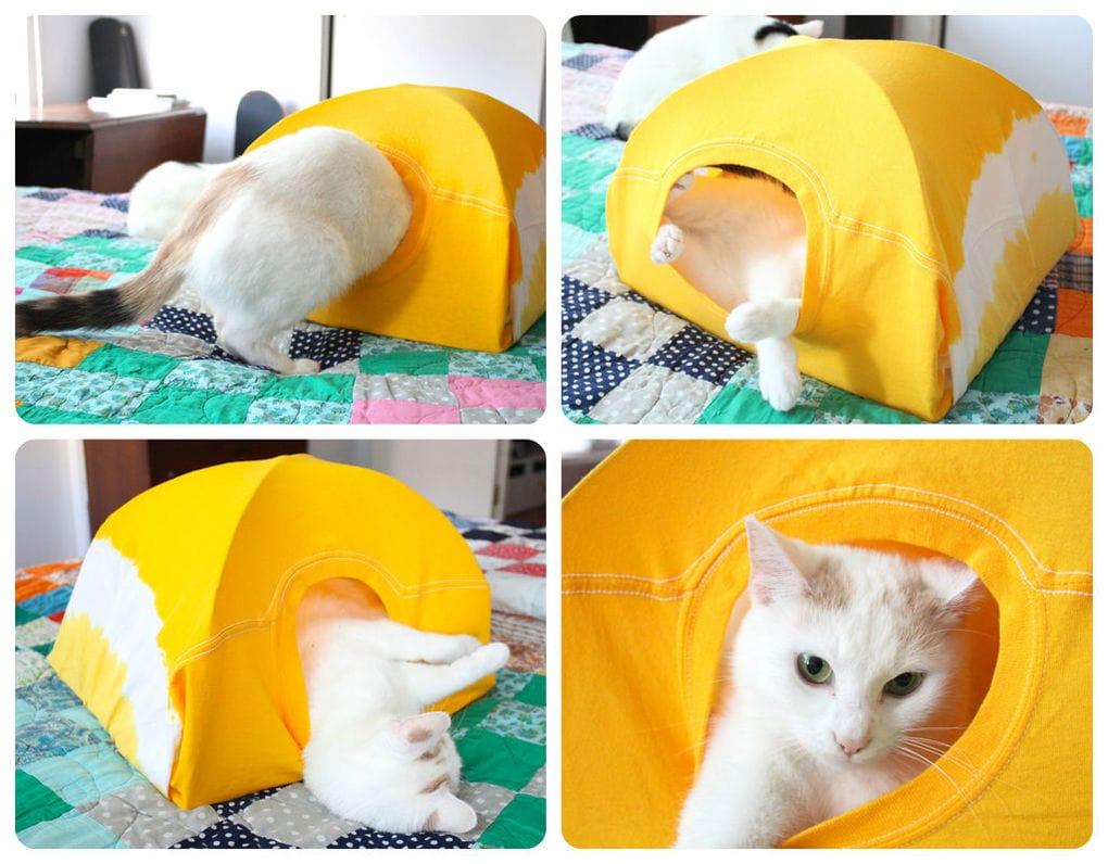 Домик для котенка из футболки