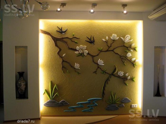Объемный рисунок на стене
