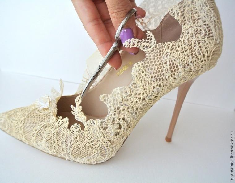 Туфли декор кружевом своими руками