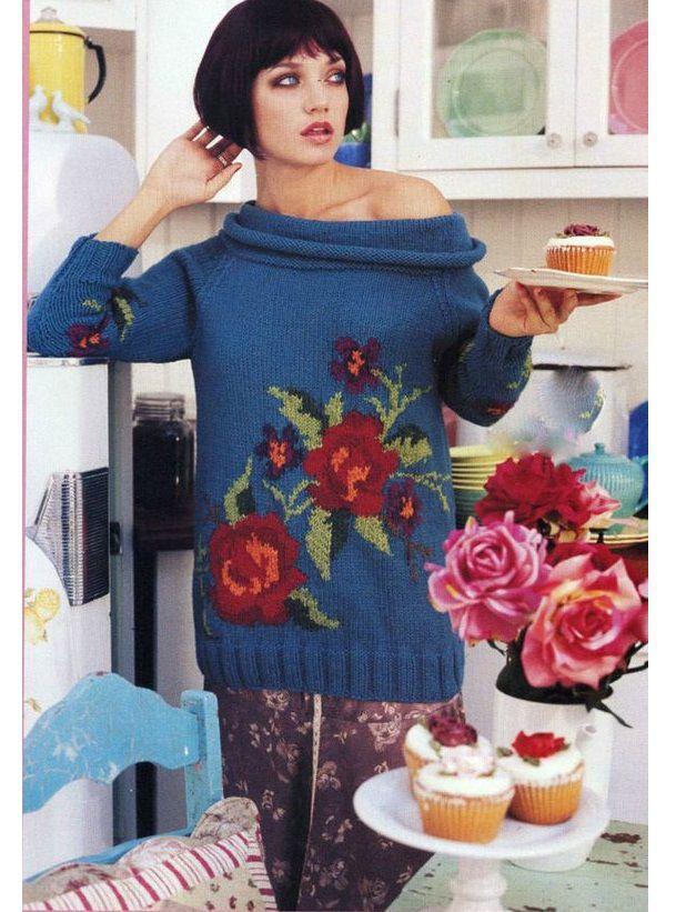 Вязание джемпер с цветами