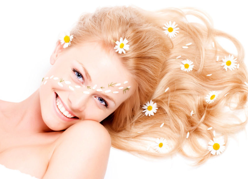 hair with chamomile
