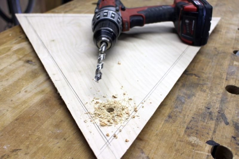 drill a triangle of plywood