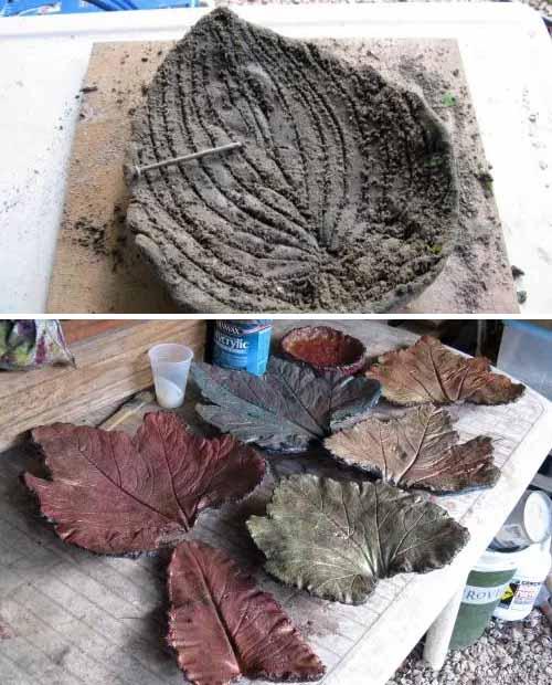 Поделки из цемента листья