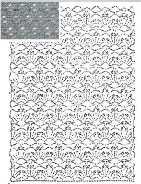 ажурные ракушки крючком схема вязания узора
