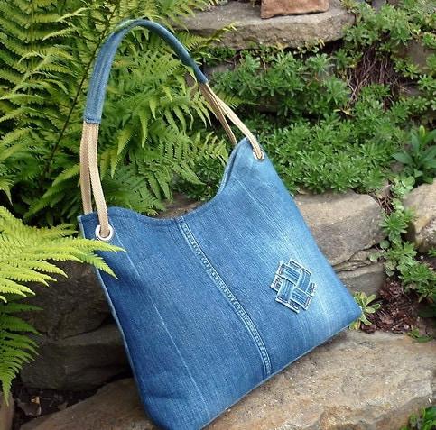 Пляжная сумка из джинсовой ткани своими руками 30