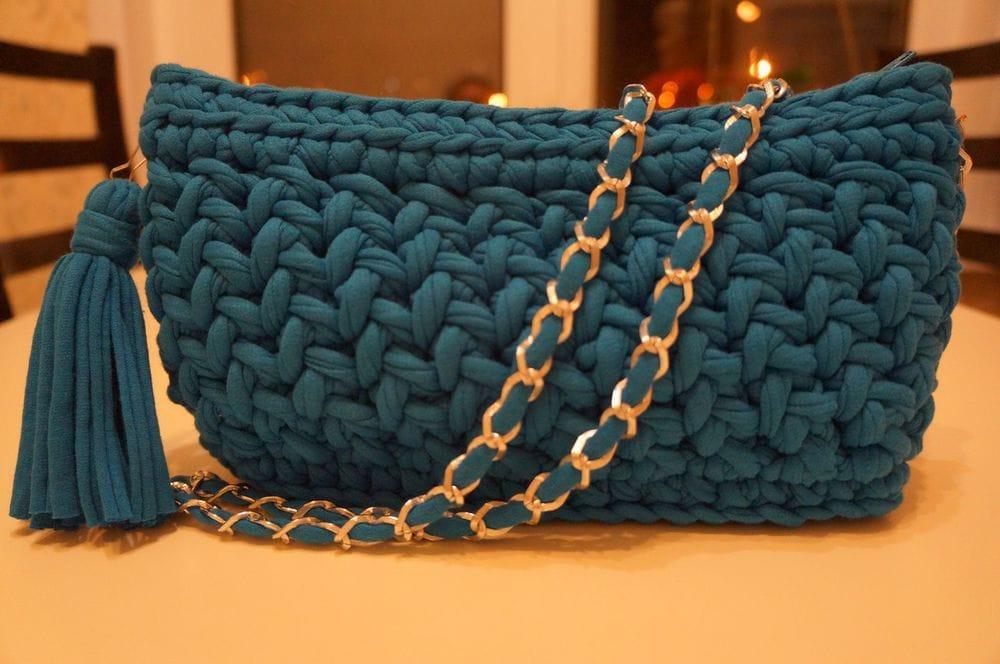 Вязание спицами сумки из трикотажной пряжи 5