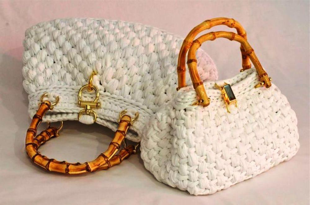 Вязание спицами сумки из трикотажной пряжи 67