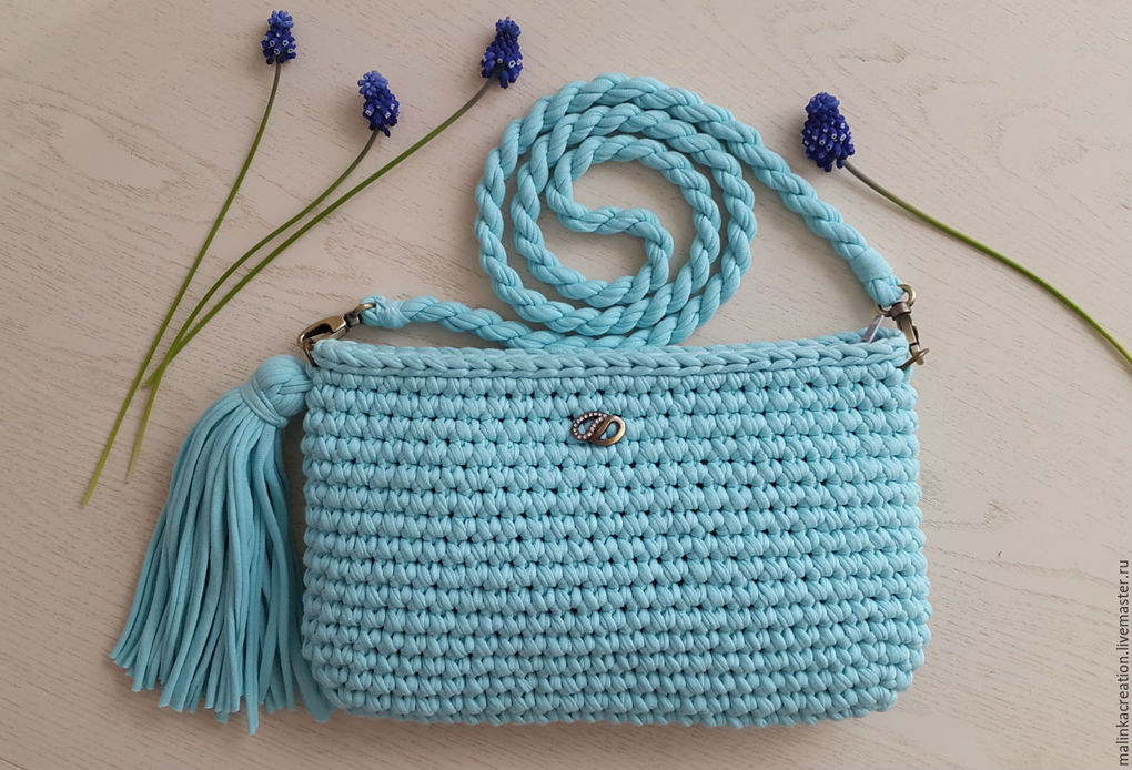 Вязание спицами сумки из трикотажной пряжи 64