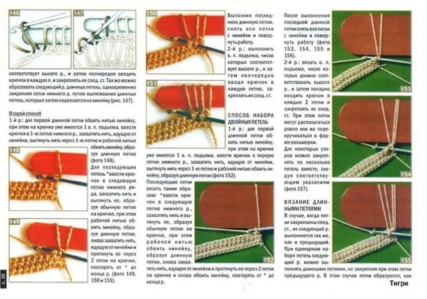 Схема вязания спицами длинная вытянутая петля6