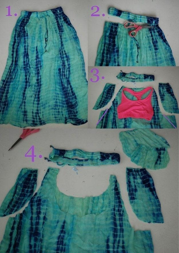 Как сделать из юбки и майки платье для