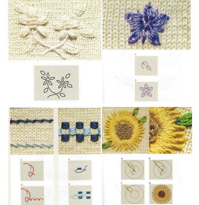 Вышивка по вязаному полотну 77