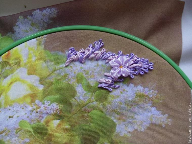 Вышивка лентами листьев для сирени 47