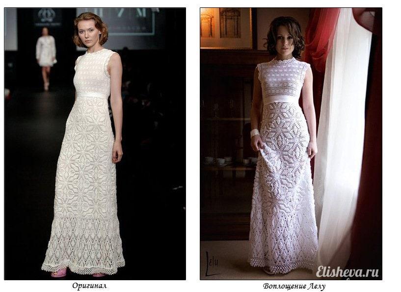 Вязаное вечернее платье схема