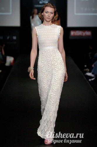 длинное вечернее платье в пол вязаное крючком летний зефир