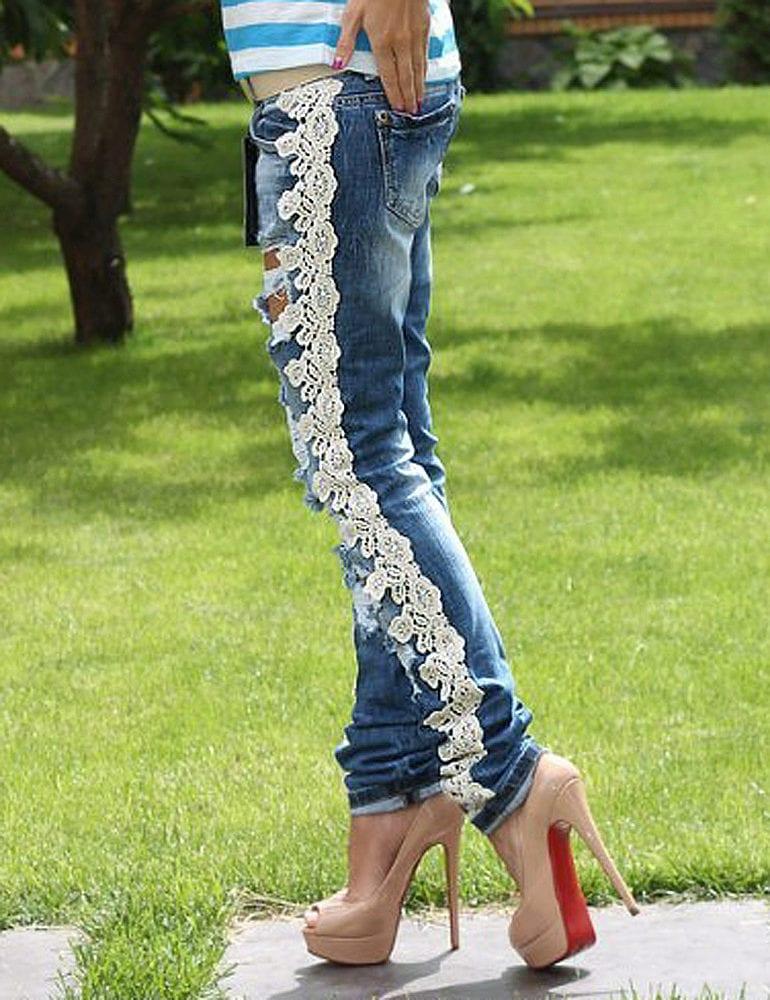 433Как украсить джинсы кружевом